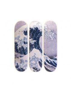 Katsushika Hokusai Skateboard Triptych – The Great Wave off Kanagawa (1829-1832)